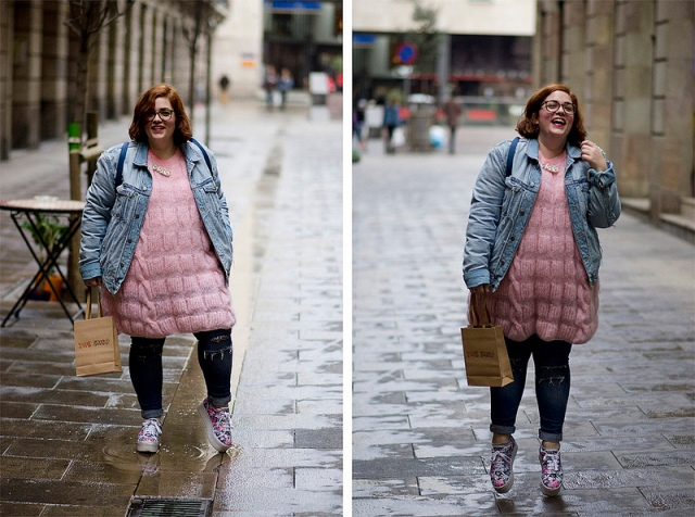 plus size outfit pink mohair sweater, jeans, denim jacket