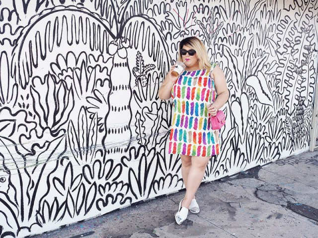 plus size outfit white dress with rainbow brush strokes