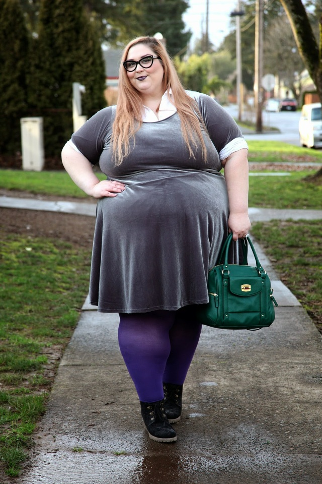 plus size outfit silver velvet dress over white button down shirt with purple tights