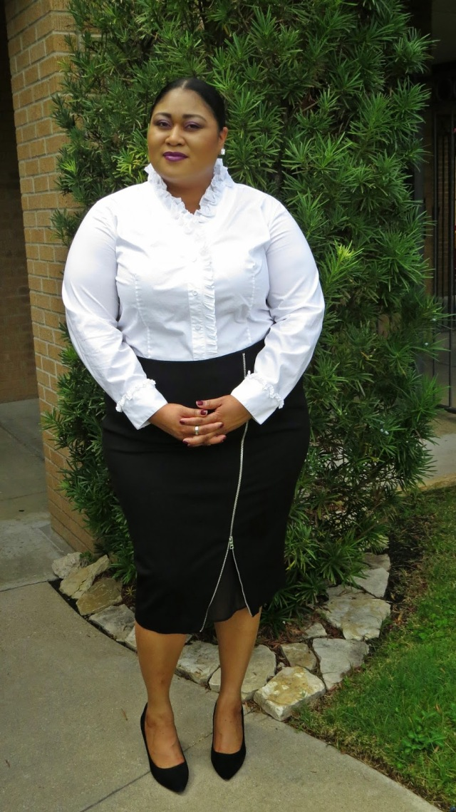 plus size workwear outfit white ruffle top and black zipper pencil skirt