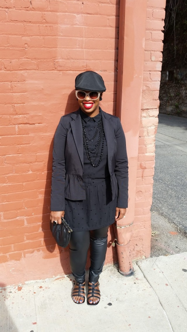 plus size all black outfit with blazer, button down shirt, leather leggings, and hat