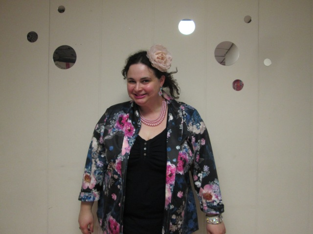 plus size outfit black top and blue and pink floral blazer