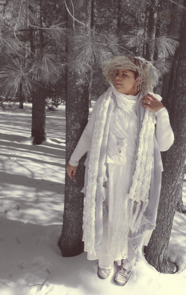 plus size all white mori girl outfit in woods