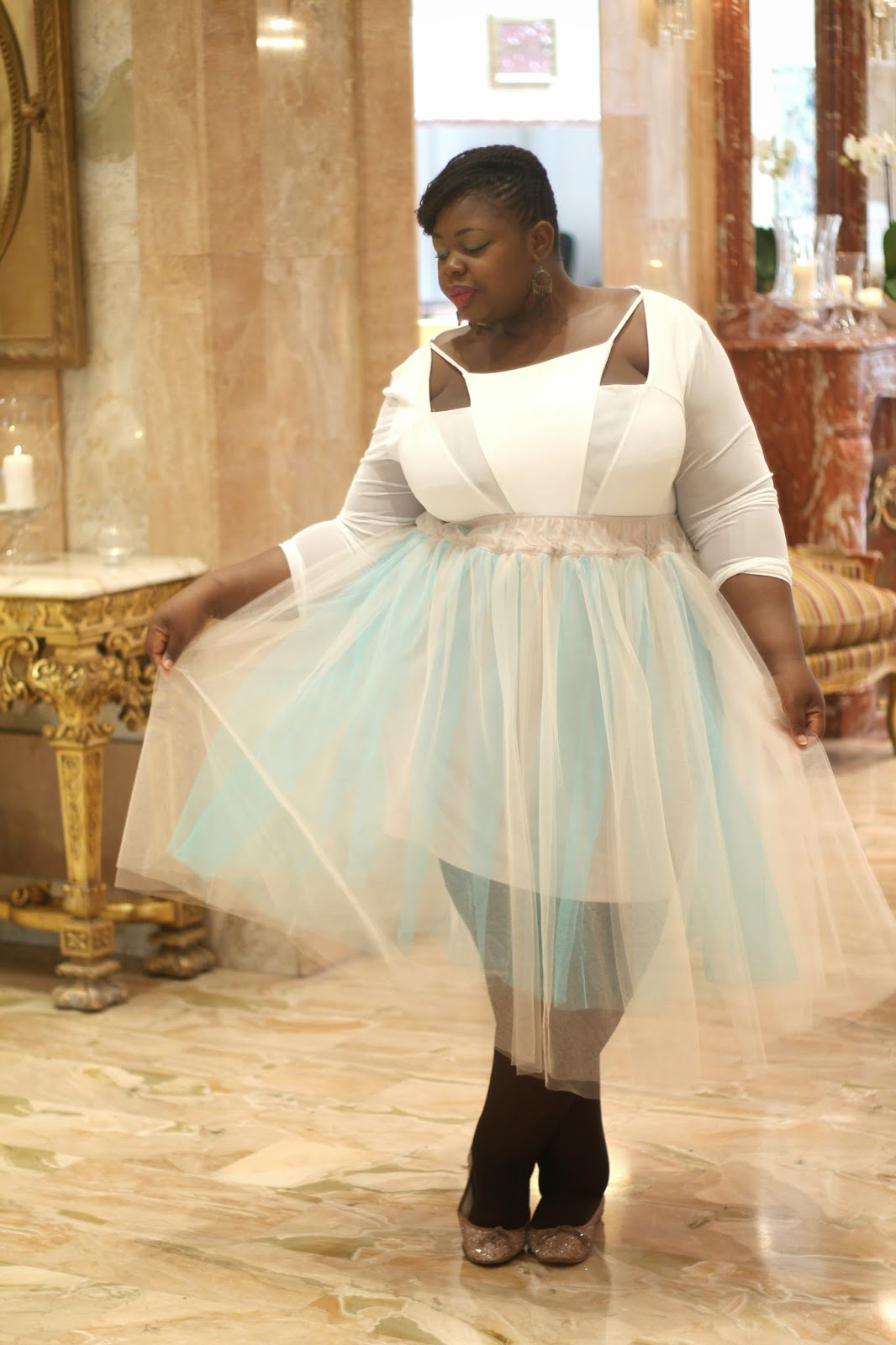 7907428430b plus size outfit white bodysuit and pale blue tutu skirt